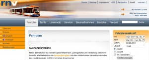 Homepage des RNV