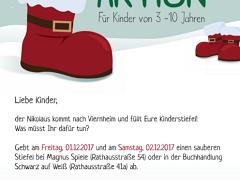Nikolaus füllt Stiefel von Viernheimer Kindern