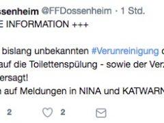 Dossenheim/Heidelberg: Warnung vor Leitungswasser